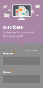 Suscríbete email marketing